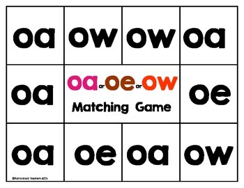 Vowel Team Long O Matching Game oe,ow  or  oa