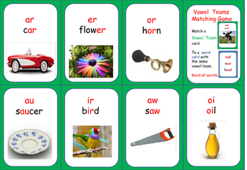 Vowel Team Matching Game- Steps to Literacy  (version #1)
