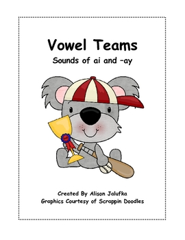 Vowel Team Phonics File Folder Game (ai, -ay)