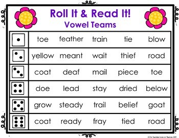 Vowel Team Roll It! Read It! Game Cards