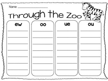 Oo Ue Ew And Ou Vowel Team Sorting Worksheet By 4 Little