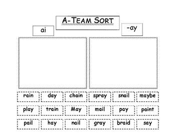 Vowel Team Sort: ai & ay
