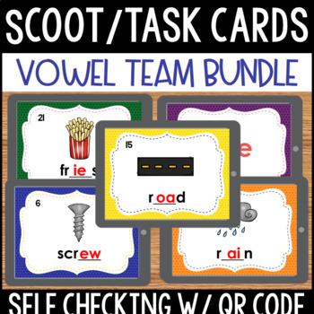 Vowel Team Task Cards with QR Code BUNDLE
