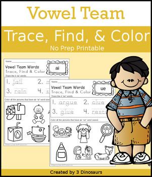 Vowel Team Trace Color Find