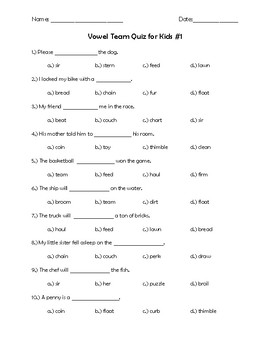 Vowel Team Vocabulary Quizzes