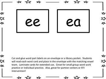 Vowel Team/Diphthongs Word Sorts