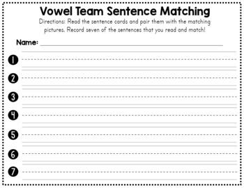 Vowel Team Words Sentence Matching