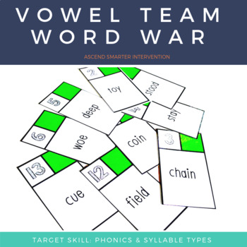 Vowel Team Words War - Orton Gillingham (Single Syllable Edition)