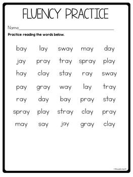Vowel Team Worksheets AY