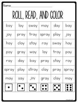 Vowel Team Worksheets for ay by 180 Days of Reading | TpT