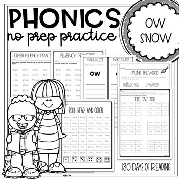Vowel Team Worksheets for ow as in snow
