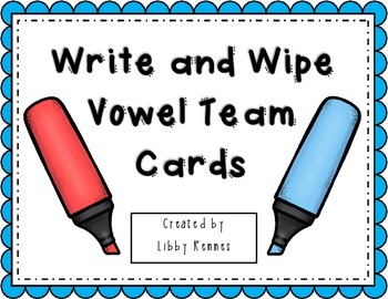 Vowel Team Write and Wipe