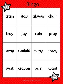Vowel Team ai and ay Bingo