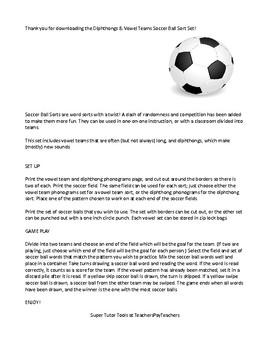 Vowel Team and Diphthong Soccer Sort Game