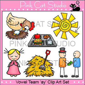 Long a Vowel Sound - Vowel Team 'ay' Phonics Clip Art Set
