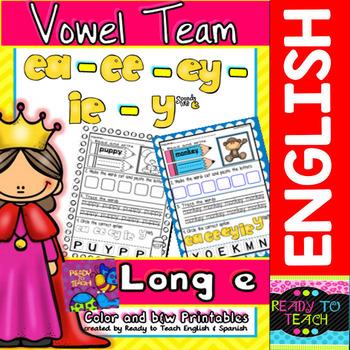 Vowel Team (ea-ee-ey-ie-y sounds like e) Printables (Color