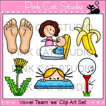 Long e Vowel Sound - Vowel Team 'ee' Phonics Clip Art Set - Commercial Use Okay