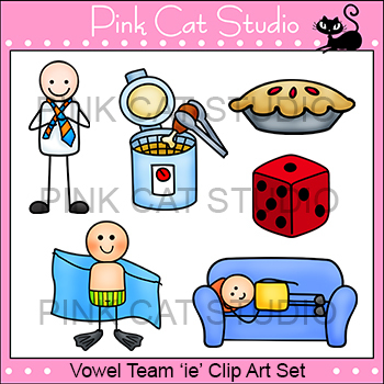 Long i Vowel Sound - Vowel Team 'ie' Phonics Clip Art Set