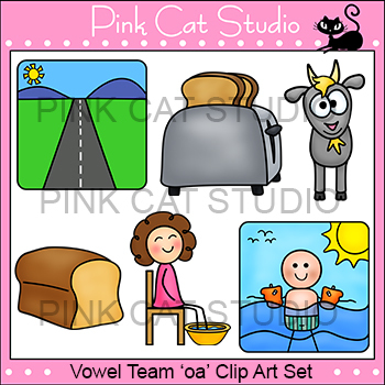 Long o Vowel Sound - Vowel Team 'oa' Phonics Clip Art Set - Commercial Use Okay