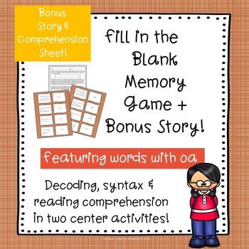 Vowel Team oa Fill-in-the-Blank Memory Game & Bonus Story