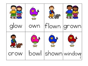 Vowel Team oa and ow Phonics Mini Game