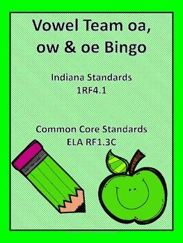 Vowel Team oa, ow and oe Bingo