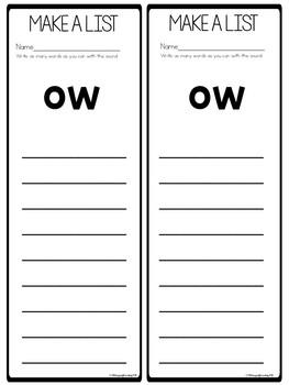 Vowel Team ow Worksheets