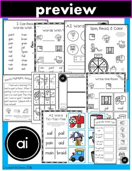 Vowel Teams AI & AY  Phonics Practice Printables and Activities