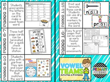 Vowel Teams { Activities & Printables }