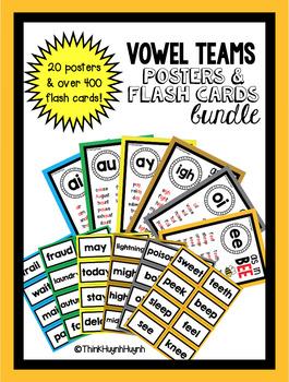 Vowel Teams Bundle - Phonics, Digraphs, & Diphthongs (Posters and Flash Cards)