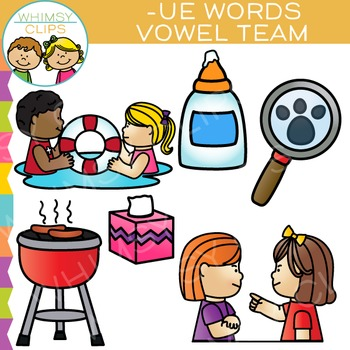 Vowel Teams Clip Art - UE Words