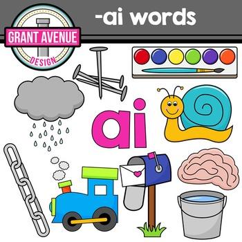 """Vowel Teams Clipart - """"ai"""" Vowel Team Clip Art - Phonics Clipart"""