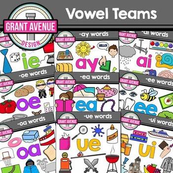 Vowel Teams Clipart - Mega Bundle - Phonics Clipart Bundle