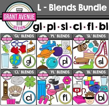L Blends Clipart Bundle - Phonics Clipart Bundle