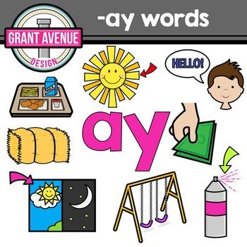 """Vowel Teams Clipart - """"ay"""" Vowel Team Clip Art - Phonics Clipart"""