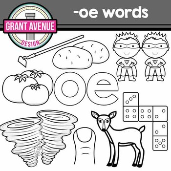 """Vowel Teams Clipart - """"oe"""" Vowel Team Clip Art - Phonics Clipart"""