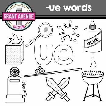 """Vowel Teams Clipart - """"ue"""" Vowel Team Clip Art - Phonics Clipart"""