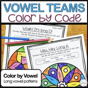 Vowel Teams Color By Code Worksheets