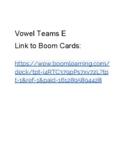 Vowel Teams E - Boom Cards