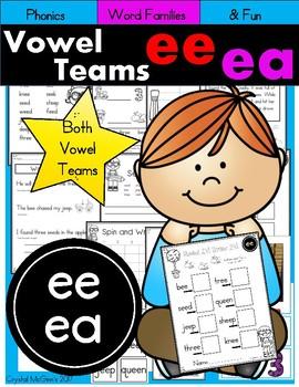 Vowel Teams EE & EA  Phonics Practice Printables and Activities