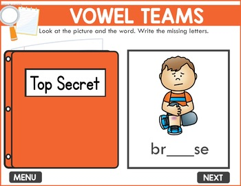 Vowel Teams Game -  Phonics Game for Smartboards & Whiteboards