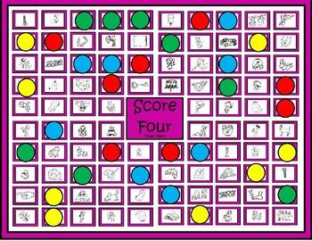 """Vowel Teams Game """"Score Four"""""""