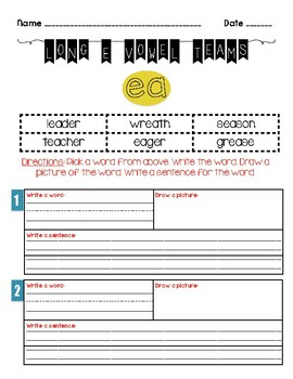 Vowel Teams Long E (EA) Worksheet