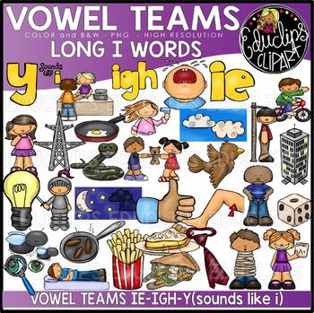 Vowel Teams - Long i Clip Art Bundle {Educlips Clipart}