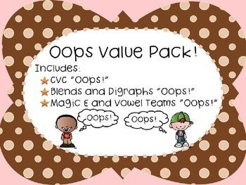 Oops! Value Pack: CVC, Blends, Digraphs, Magic E, Vowel Team Words