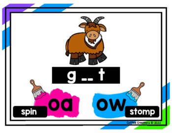 2.RF.3b - Vowel Teams Movement Interactive Game - oa and ow