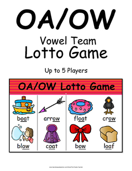 Vowel Teams OA and OW Literacy Centers