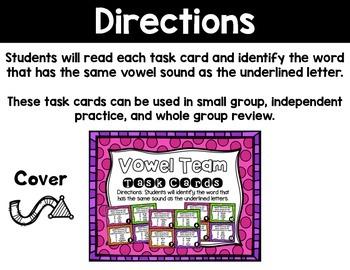 Vowel Team Task Cards (Multiple Choice)