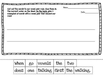 Vowel Teams/Vowel Pairs - Cut and Sort