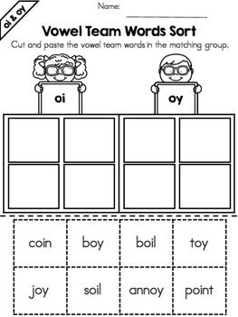 Vowel Teams: Vowel Team Word Sorts Bundle
